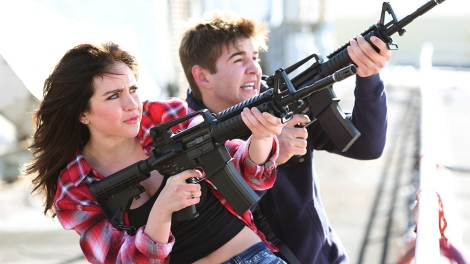 SHARKNADO 3: OH HELL NO! -- Pictured:  (l-r) Ryan Newman as Claudia Shepard, Jack Griffo as Billy -- (Photo by: Raymond Liu/Syfy)